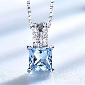 Sterling Silver 925 Blue Topaz CZ Necklace